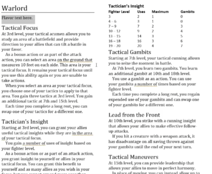 Warlord (Fighter) – ThinkDM