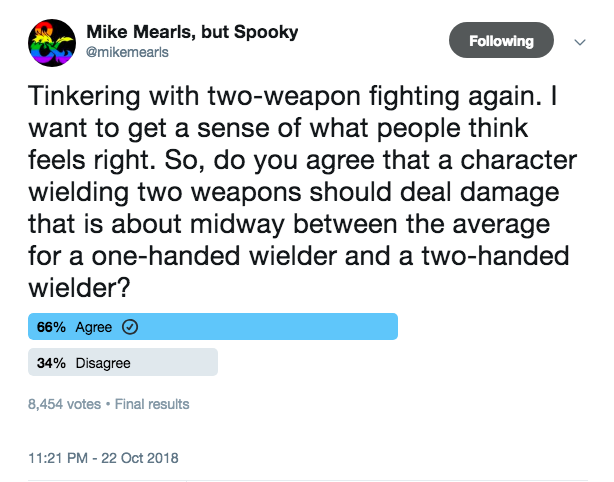Mearls Dual Wielding Poll