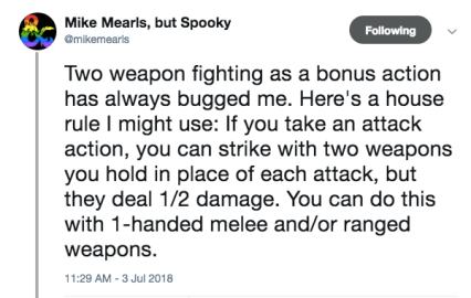 Mearls TWF Bonus Action