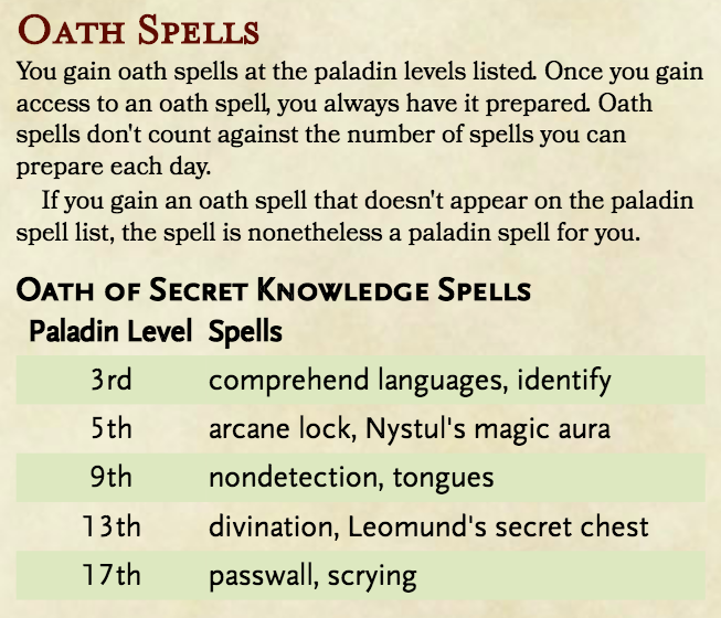 Paladin: Oath of Secret Knowledge