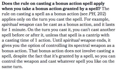 Bonus Action Spell Restriction (Sage Advice)