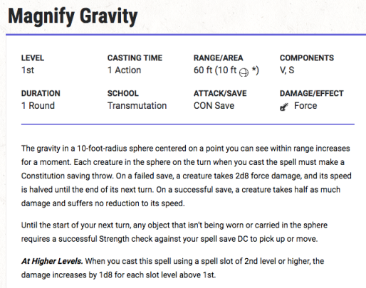 Magnify Gravity Spell