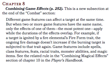 "Combining Game Effects (p. 252).   This is a new subsection at the end of the ""Combat"" section:  Different game features can affect a target at the same time. But when two or more game features have the same name, only the effects of one of them—the most potent one—apply while the durations of the effects overlap. For example, if a target is ignited by a fire elemental's Fire Form trait, the ongoing fire damage doesn't increase if the burning target is subjected to that trait again. Game features include spells, class features, feats, racial traits, monster abilities, and magic items. See the related rule in the ""Combining Magical Effects"" section of chapter 10 in the Player's Handbook."
