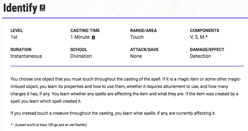You choose one object that you must touch throughout the casting of the spell. If it is a magic item or some other magic-imbued object, you learn its properties and how to use them, whether it requires attunement to use, and how many charges it has, if any. You learn whether any spells are affecting the item and what they are. If the item was created by a spell, you learn which spell created it.