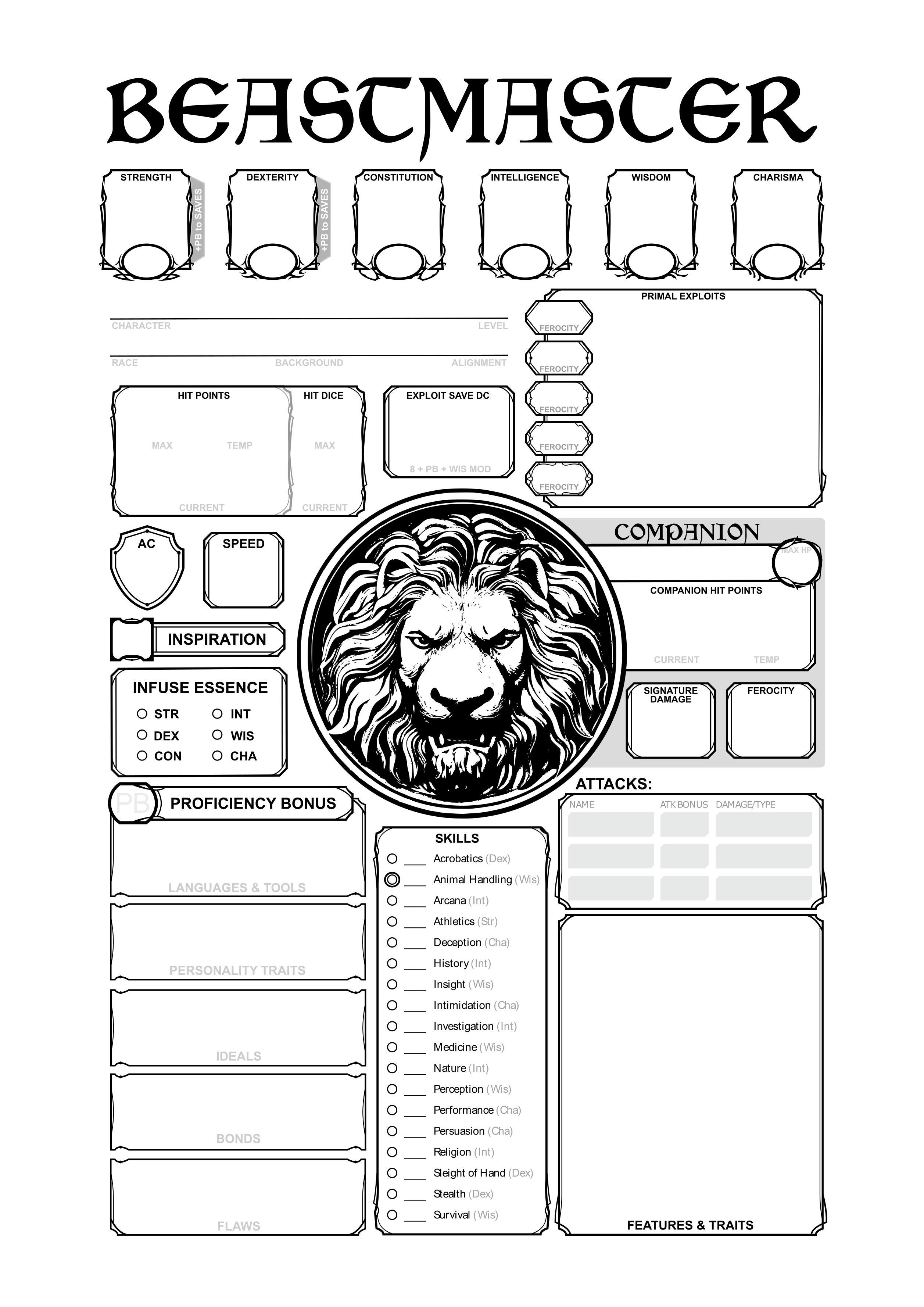 Beastmaster Character Sheet